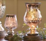 Pottery Barn mercury glass hurricane lamps
