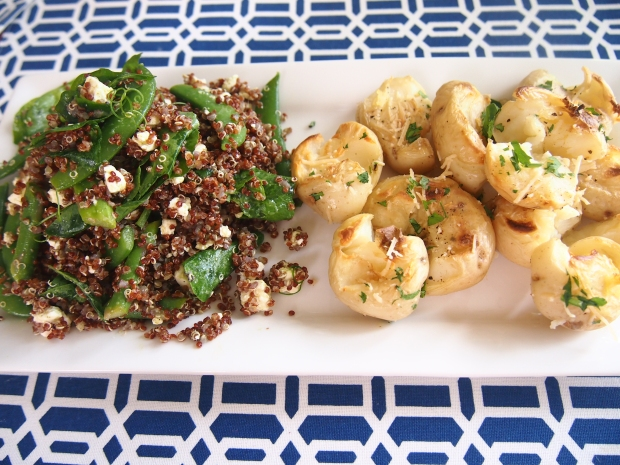 Quinoa salad & smashed baby potatoes