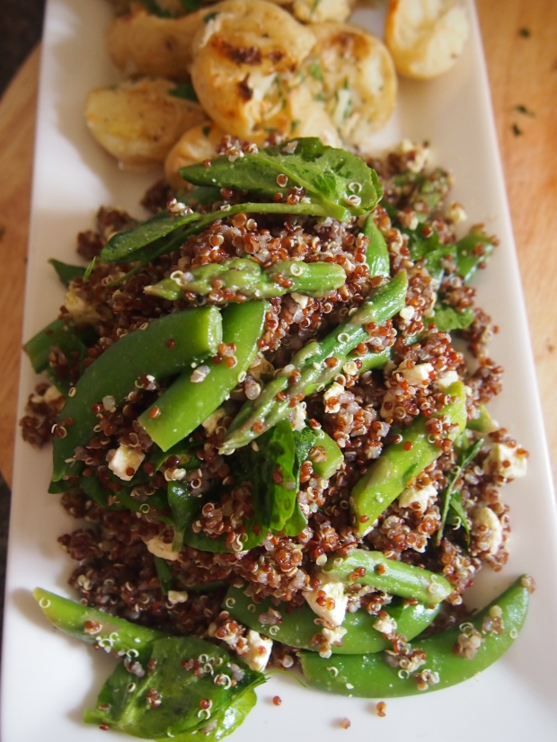 Quinoa salad with asparagus and sugar-snap peas