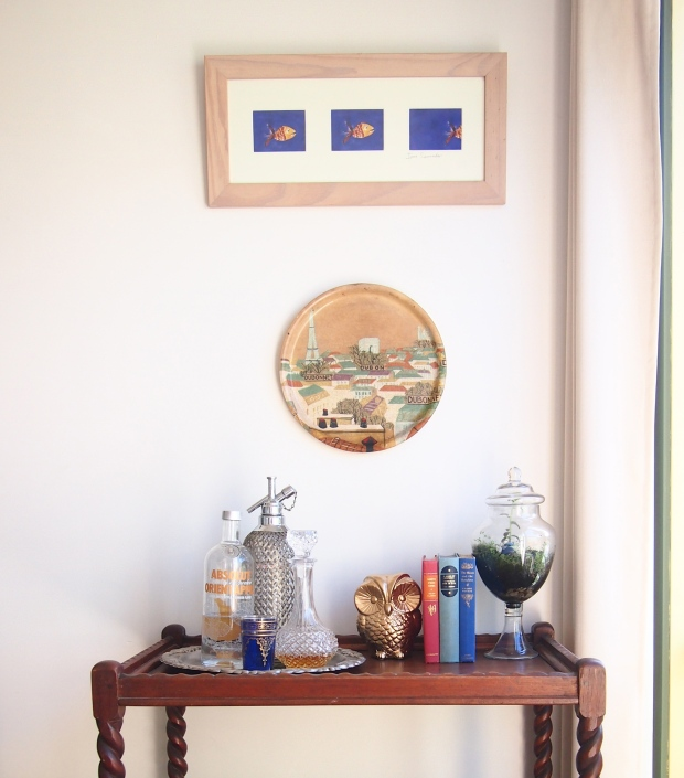 Vintage drinks tray as art